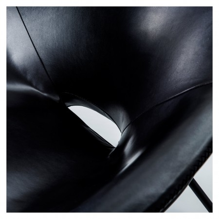 Magnus Long for The Conran Shop Cross Leg Chair Blk Leather 7